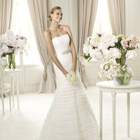 Mermaid, Strapless, Beading, Pronovias, layered skirt, grosgrain belt, Pronovias Glamour, silk garza, silk frills