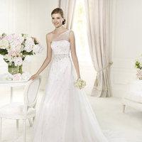 Wedding Dresses, One-Shoulder Wedding Dresses, A-line Wedding Dresses, Fashion, A-line, Beading, Tulle, Pronovias, Beaded belt, One-shoulder, illusion strap, Beaded Wedding Dresses, beaded strap, Pronovias Glamour, tulle wedding dresses