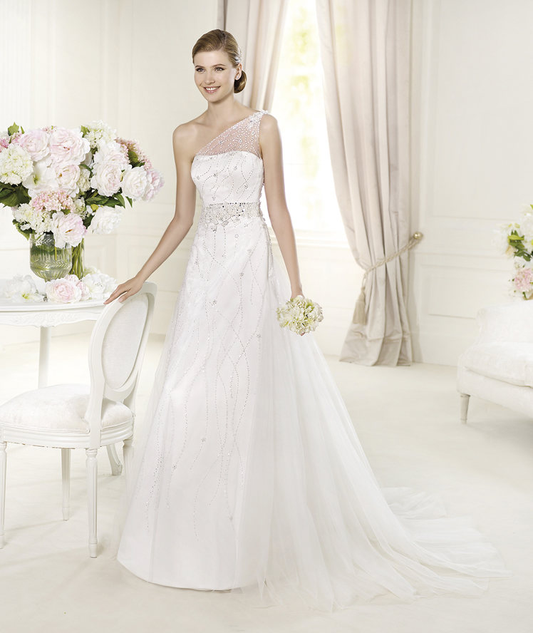 Wedding Dresses, One-Shoulder Wedding Dresses, A-line Wedding Dresses, Fashion, A-line, Beading, Tulle, Pronovias, Beaded belt, One-shoulder, illusion strap, Beaded Wedding Dresses, beaded strap, Pronovias Glamour, tulle wedding dresses