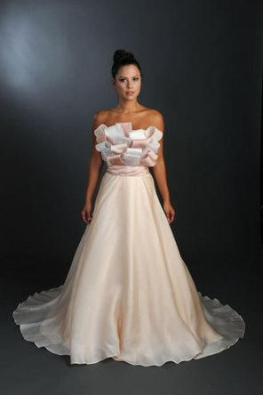 Wedding Dresses, A-line Wedding Dresses, Ruffled Wedding Dresses, Fashion, pink, Strapless, Strapless Wedding Dresses, A-line, Satin, Ruffles, Sleeveless, Rania hatoum, chapel train, floor length, satin wedding dresses