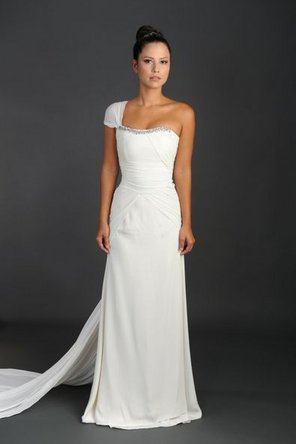 Wedding Dresses, One-Shoulder Wedding Dresses, Fashion, Strapless, Strapless Wedding Dresses, Beading, Crepe, One-shoulder, Rania hatoum, floor length, cap sleeve, short sleeve, Beaded Wedding Dresses, Crepe Wedding Dresses