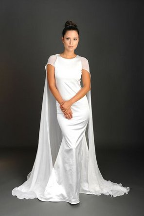 Wedding Dresses, Illusion Neckline Wedding Dresses, Fashion, ivory, Short, Sheath, Satin, Illusion, Rania hatoum, high-neck, floor length, short sleeve, Short Wedding Dresses, High Neck Wedding Dresses, satin wedding dresses, Sheath Wedding Dresses