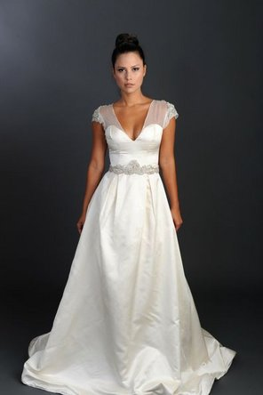 Wedding Dresses, Sweetheart Wedding Dresses, Illusion Neckline Wedding Dresses, Ball Gown Wedding Dresses, Fashion, ivory, Sweetheart, Empire, Ribbons, Sashes, Organza, Illusion, Ball gown, Rania hatoum, floor length, short sleeve, organza wedding dresses