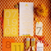 Stationery, Real Weddings, Wedding Style, yellow, orange, Modern Wedding Invitations, Invitations, Ceremony Programs, Place Cards, Table Numbers, Rustic Real Weddings, Summer Weddings, West Coast Real Weddings, Summer Real Weddings, Rustic Weddings