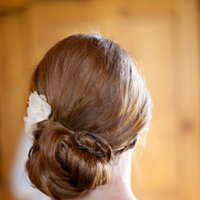 Beauty, Real Weddings, Wedding Style, Updo, Rustic Real Weddings, Summer Weddings, Midwest Real Weddings, Summer Real Weddings, Rustic Weddings, Tan, Hair flower, hair flowers