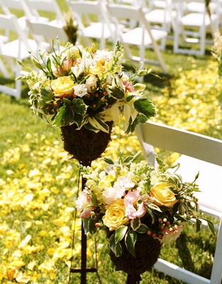 Flowers & Decor, Real Weddings, Wedding Style, ivory, yellow, Ceremony Flowers, Aisle Decor, Rustic Real Weddings, Summer Weddings, West Coast Real Weddings, Summer Real Weddings, Rustic Weddings, Rustic Wedding Flowers & Decor