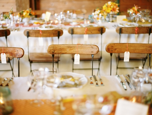 Flowers & Decor, Stationery, Real Weddings, Wedding Style, yellow, orange, Tables & Seating, Place Cards, Rustic Real Weddings, Summer Weddings, West Coast Real Weddings, Summer Real Weddings, Rustic Weddings, Rustic Wedding Flowers & Decor, Summer Wedding Flowers & Decor