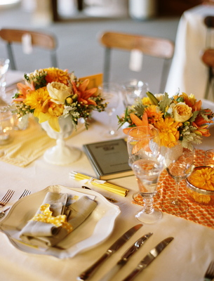 Flowers & Decor, Stationery, Real Weddings, Wedding Style, yellow, orange, Menu Cards, Rustic Real Weddings, Summer Weddings, West Coast Real Weddings, Summer Real Weddings, Rustic Weddings, Rustic Wedding Flowers & Decor, Summer Wedding Flowers & Decor, Table settings, Centerpices