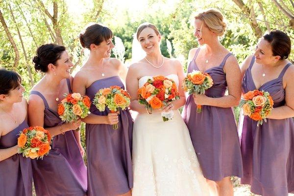 Flowers & Decor, Bridesmaids Dresses, Fashion, Real Weddings, Wedding Style, purple, Bridesmaid Bouquets, Rustic Real Weddings, Summer Weddings, West Coast Real Weddings, Summer Real Weddings, Rustic Weddings