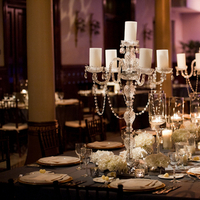 Reception, Flowers & Decor, Real Weddings, Wedding Style, Centerpieces, Candles, Southern Real Weddings, Winter Weddings, City Real Weddings, Classic Real Weddings, Winter Real Weddings, City Weddings, Winter Wedding Flowers & Decor, Elegant, Formal, Candlelight, Southern weddings, candlelabras