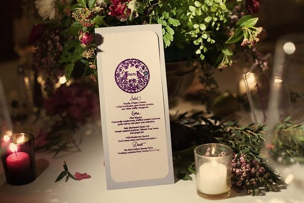 Stationery, Real Weddings, Wedding Style, purple, Menu Cards, West Coast Real Weddings, Shabby Chic Real Weddings, Shabby Chic Weddings, cultural real weddings, cultural weddings