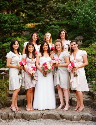 Real Weddings, pink, Bridesmaid Bouquets, Garden Real Weddings, Garden Weddings