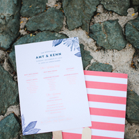 Stationery, pink, Destination Weddings, Ceremony Programs, Beach Real Weddings, Stripes, Beach wedding, Navy, Destination Real Weddings, Island Weddings, Island Real Weddings