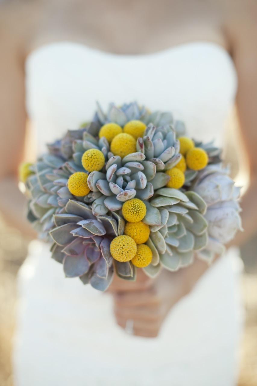 Flowers & Decor, Real Weddings, Wedding Style, yellow, green, Bride Bouquets, Modern Real Weddings, Rustic Real Weddings, West Coast Real Weddings, Eco-Friendly Real Weddings, Eco-Friendly Weddings, Modern Weddings, Rustic Weddings, Eco-Friendly Wedding Flowers & Decor, Succulents, Billy balls