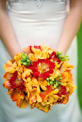 Real Weddings, yellow, orange, red, Bride Bouquets, Fall Weddings, West Coast Real Weddings, Fall Real Weddings