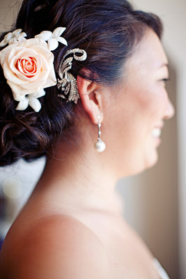 Beauty, Real Weddings, Wedding Style, white, Chignon, Updo, Hairpin, Fair Complexion, Summer Weddings, West Coast Real Weddings, Garden Real Weddings, Summer Real Weddings, Garden Weddings