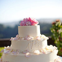 Cakes, Real Weddings, Wedding Style, white, pink, Garden Wedding Cakes, Monogrammed Wedding Cakes, Round Wedding Cakes, Wedding Cakes, Summer Weddings, West Coast Real Weddings, Garden Real Weddings, Summer Real Weddings, Garden Weddings