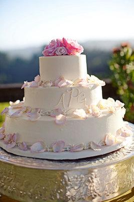 Cakes, Real Weddings, Wedding Style, white, pink, Garden Wedding Cakes, Monogrammed Wedding Cakes, Round Wedding Cakes, Wedding Cakes, Summer Weddings, West Coast Real Weddings, Garden Real Weddings, Summer Real Weddings, Garden Weddings