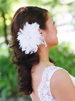 Beauty, Real Weddings, Half-up, Long Hair, Feathers, Summer Weddings, West Coast Real Weddings, Summer Real Weddings, Hair flower