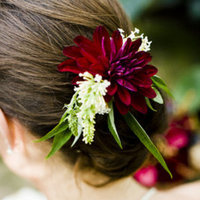 Beauty, Real Weddings, Wedding Style, red, purple, Chignon, Updo, Fall Weddings, Fall Real Weddings, Midwest Real Weddings, Hair flower