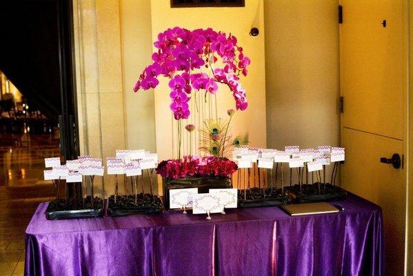 Real Weddings, purple, Escort Cards, West Coast Real Weddings, Glam Real Weddings, Glam Weddings, Glam Wedding Flowers & Decor