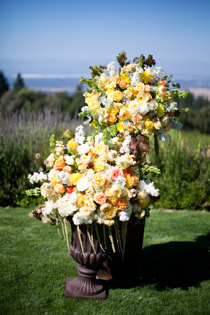 Flowers & Decor, Real Weddings, Wedding Style, yellow, Aisle Decor, Summer Weddings, West Coast Real Weddings, Garden Real Weddings, Summer Real Weddings, Garden Weddings, Summer Wedding Flowers & Decor