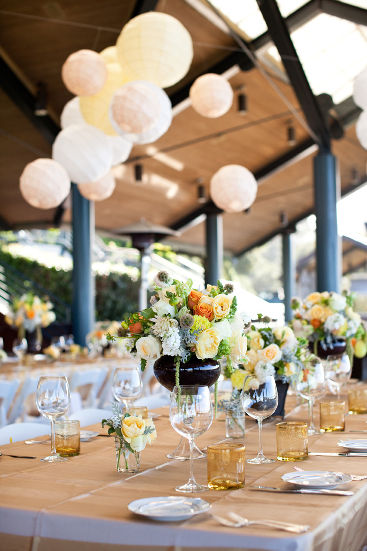 Real Weddings, Wedding Style, Garden Weddings, Garden Real Weddings, West Coast Real Weddings, Summer Weddings, Summer Real Weddings, Flowers & Decor, Summer Wedding Flowers & Decor, Centerpieces, yellow, Table settings