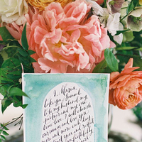 Flowers & Decor, Stationery, Real Weddings, Wedding Style, pink, blue, Centerpieces, Eco-Friendly Wedding Invitations, Garden Wedding Invitations, Spring Weddings, West Coast Real Weddings, Boho Chic Real Weddings, Garden Real Weddings, Spring Real Weddings, Boho Chic Weddings, Garden Weddings, Garden Wedding Flowers & Decor, Spring Wedding Flowers & Decor, Boho Chic Wedding Invitations