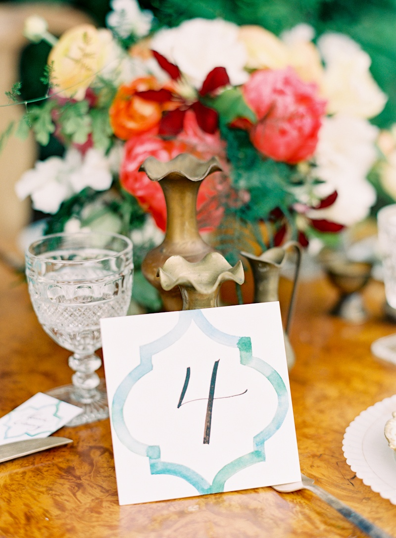 Flowers & Decor, Stationery, Real Weddings, Wedding Style, ivory, blue, gold, Centerpieces, Table Numbers, Spring Weddings, West Coast Real Weddings, Boho Chic Real Weddings, Garden Real Weddings, Spring Real Weddings, Boho Chic Weddings, Garden Weddings, Boho Chic Wedding Flowers & Decor