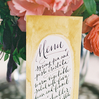 Stationery, Real Weddings, Wedding Style, yellow, pink, Eco-Friendly Wedding Invitations, Garden Wedding Invitations, Menu Cards, Spring Weddings, West Coast Real Weddings, Boho Chic Real Weddings, Garden Real Weddings, Spring Real Weddings, Boho Chic Weddings, Garden Weddings