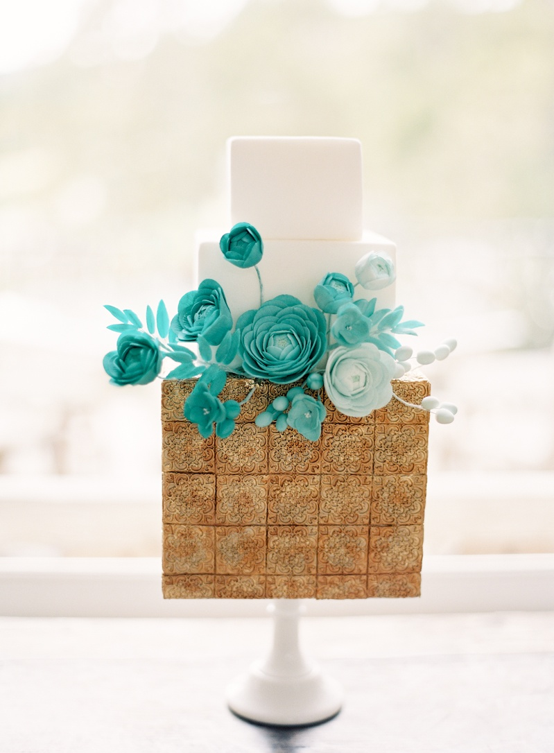 Cakes, Real Weddings, Wedding Style, white, blue, gold, Floral Wedding Cakes, Modern Wedding Cakes, Square Wedding Cakes, Wedding Cakes, Cake Toppers, Spring Weddings, West Coast Real Weddings, Boho Chic Real Weddings, Garden Real Weddings, Spring Real Weddings, Boho Chic Weddings, Garden Weddings