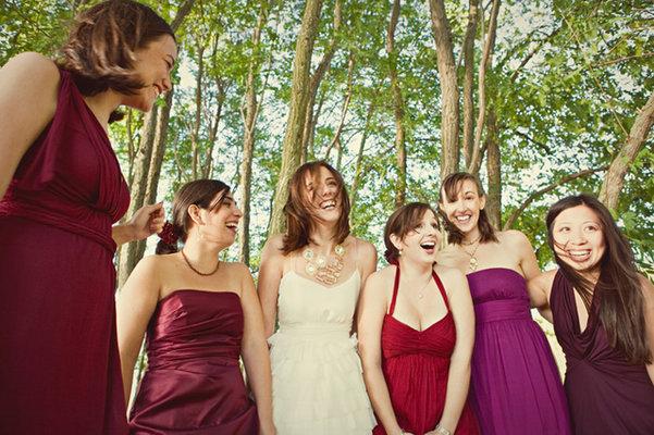 Bridesmaids Dresses, Fashion, Real Weddings, Wedding Style, red, purple, Fall Weddings, Modern Real Weddings, West Coast Real Weddings, Fall Real Weddings, Modern Weddings