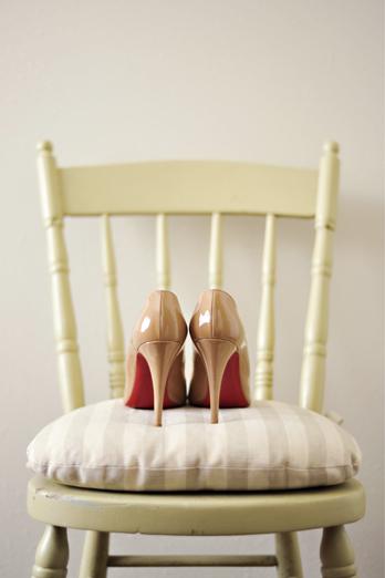 Real Weddings, Fall, Rustic, Bridal shoes, Heels, Christian louboutin, Autumn, Nude, Farm wedding