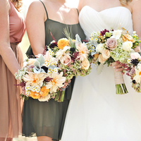 Flowers & Decor, Bridesmaids, Real Weddings, gold, Fall, Rustic, Bridal party, Bouquets, Autumn, Natural, Farm wedding, earth tones