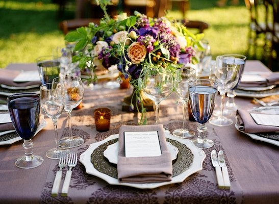 Flowers & Decor, Real Weddings, Wedding Style, purple, Place Settings, Fall Weddings, West Coast Real Weddings, Fall Real Weddings, Vineyard Real Weddings, Vineyard Weddings, Fall Wedding Flowers & Decor, Rustic Wedding Flowers & Decor, Vineyard Wedding Flowers & Decor, Table settings