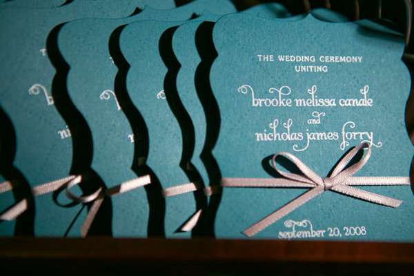 Stationery, Real Weddings, Wedding Style, blue, Ceremony Programs, Modern Real Weddings, Modern Weddings, mid-atlantic real weddings