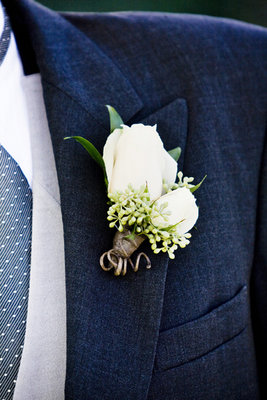 Real Weddings, ivory, blue, Boutonnieres, West Coast Real Weddings