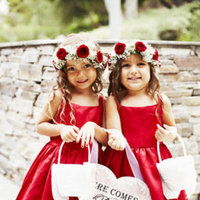 Beauty, Flower Girl Dresses, Flower Girls, Real Weddings, Wedding Style, red, West Coast Real Weddings, Classic Real Weddings, Glam Real Weddings, Classic Weddings, Glam Weddings, Kids, Hair flower, hair flowers