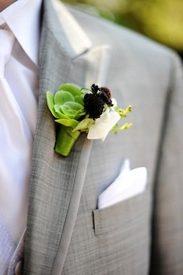 Flowers & Decor, Real Weddings, Wedding Style, green, Boutonnieres, Modern Real Weddings, West Coast Real Weddings, Modern Weddings, Eco-Friendly Wedding Flowers & Decor, Succulents