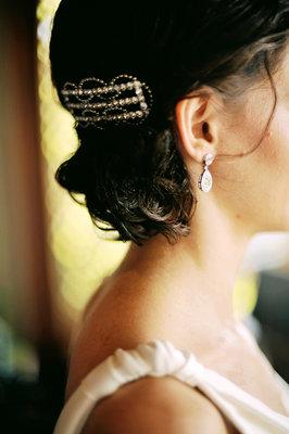 Beauty, Jewelry, Destinations, Real Weddings, Wedding Style, Earrings, Chignon, Hairpin, Australia, Spring Weddings, Spring Real Weddings, Vintage Real Weddings, Vintage Weddings