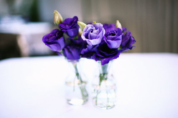 Flowers & Decor, Real Weddings, Wedding Style, purple, Centerpieces, Modern Real Weddings, City Real Weddings, City Weddings, Modern Weddings