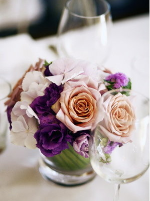 Flowers & Decor, Real Weddings, Wedding Style, purple, Centerpieces, Modern Real Weddings, City Real Weddings, City Weddings, Modern Weddings, Modern Wedding Flowers & Decor