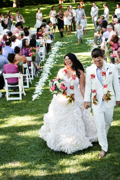 Ceremony, Real Weddings, Vineyard, Summer Weddings, West Coast Real Weddings, Summer Real Weddings, Bright, Leis, Organic, Farm, Whimsical, Vibrant, Orchard, West Coast Weddings