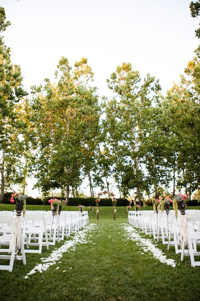Ceremony, Real Weddings, Vineyard, Summer Weddings, West Coast Real Weddings, Summer Real Weddings, Bright, Aisle, Organic, Farm, Whimsical, Vibrant, Orchard, West Coast Weddings