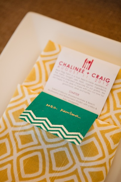 Stationery, Real Weddings, Wedding Style, yellow, green, Vineyard, Summer Weddings, West Coast Real Weddings, Summer Real Weddings, Menu, Bright, Organic, Farm, Whimsical, Vibrant, Orchard, Chevron, West Coast Weddings