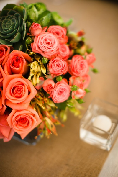 Flowers & Decor, Real Weddings, orange, pink, Vineyard, Summer Weddings, West Coast Real Weddings, Summer Real Weddings, Roses, Bright, Organic, Succulents, Farm, Whimsical, Vibrant, Orchard, West Coast Weddings