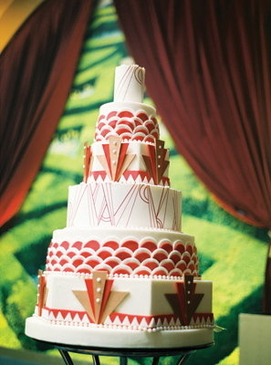 Cakes, Real Weddings, Wedding Style, red, Modern Wedding Cakes, Wedding Cakes, Glam Real Weddings, Art Deco Weddings