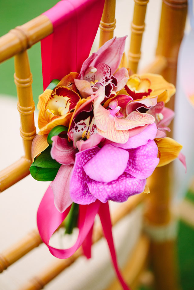 Flowers & Decor, Real Weddings, yellow, pink, Destination Weddings, Summer Weddings, Summer Real Weddings, Orchids, Chair decor, Violet, Destination Real Wedding, Hawaiian Real Wedding, Hawaiian Weddings, Tropical Weddings, Tropical Real Weddings, chair décor