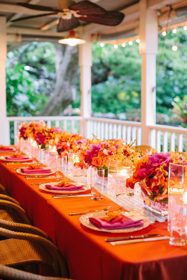 Reception, Flowers & Decor, Real Weddings, orange, Destination Weddings, Centerpieces, Outdoor, Summer Weddings, Summer Real Weddings, Tabletop, Fuchsia, Porch, Destination Real Wedding, Hawaiian Real Wedding, Hawaiian Weddings, Tropical Weddings, Tropical Real Weddings