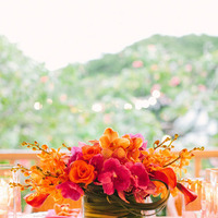 Flowers & Decor, Real Weddings, Wedding Style, orange, Destination Weddings, Centerpieces, Summer Weddings, Summer Real Weddings, Roses, Orchids, Fuchsia, Destination Real Wedding, Hawaiian Real Wedding, Hawaiian Weddings, Tropical Weddings, Tropical Real Weddings